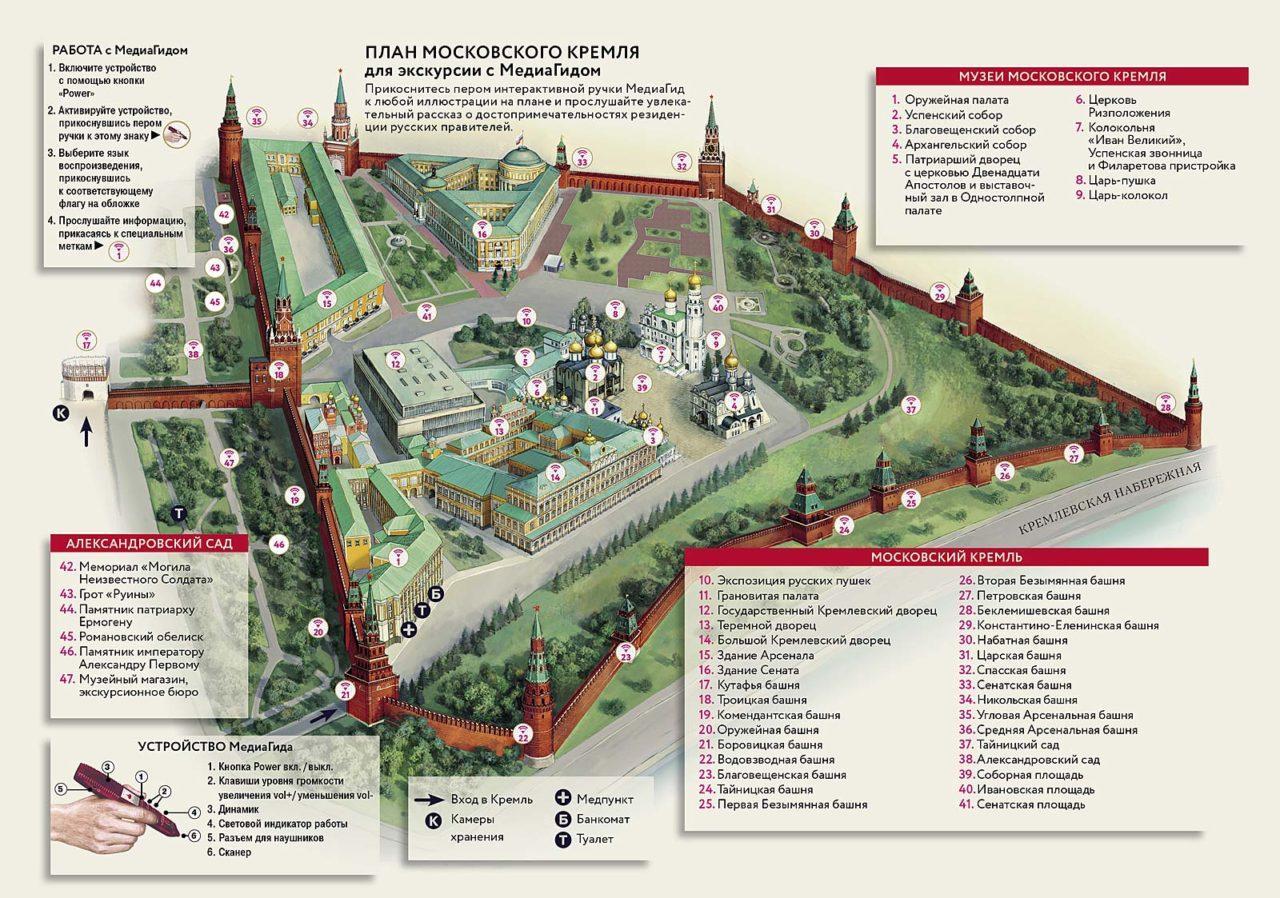 карта Кремля в Москве на русском / map of Moscow Kremlin russian